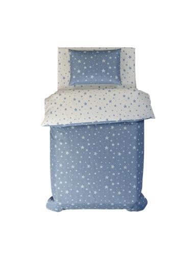 Hibboux 100x150 Star Bebek Nevresim + Yastık Kılıfı - Blue Mavi